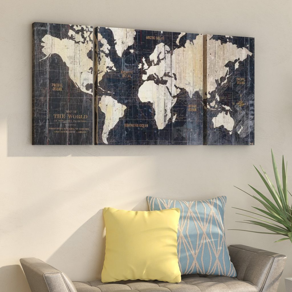 world map canvas graphic art