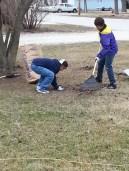 Teens helping elderly