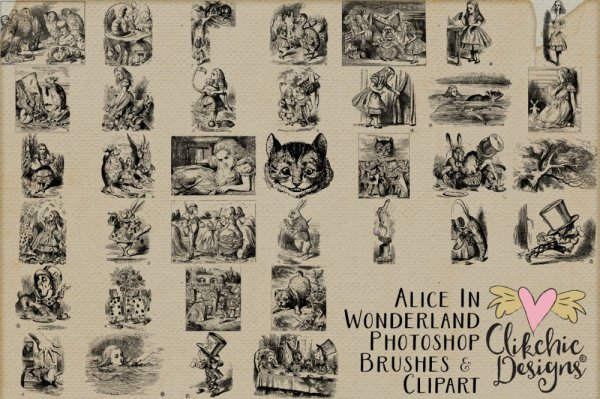 Alice In Wonderland Photoshop Brushes and Clipart