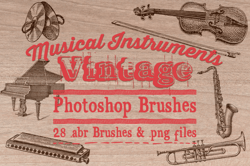 Vintage Musical Instrument Photoshop Brushes