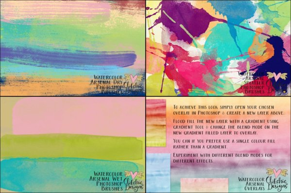 Watercolor Arsenal Collection Photoshop Brushes and Overlays