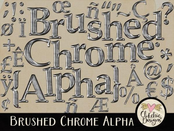Brushed Chrome Digital Scrapbook Alpha