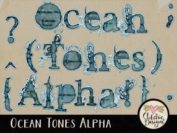 Ocean Tones Digital Scrapbook Alpha