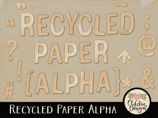 Recycled Paper Digital Scrapbook Alpha