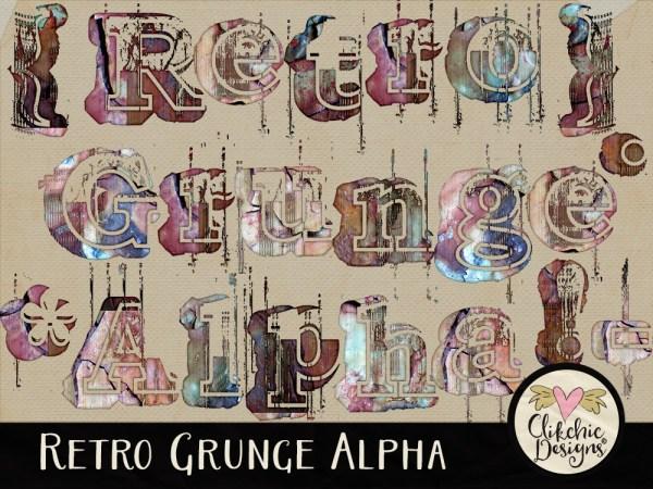 Retro Grunge Digital Scrapbook Alpha