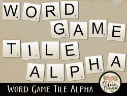 Word Game Tile Digital Scrapbook Alpha