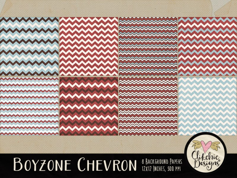 Boyzone Chevron Digital Scrapbook Paper Pack
