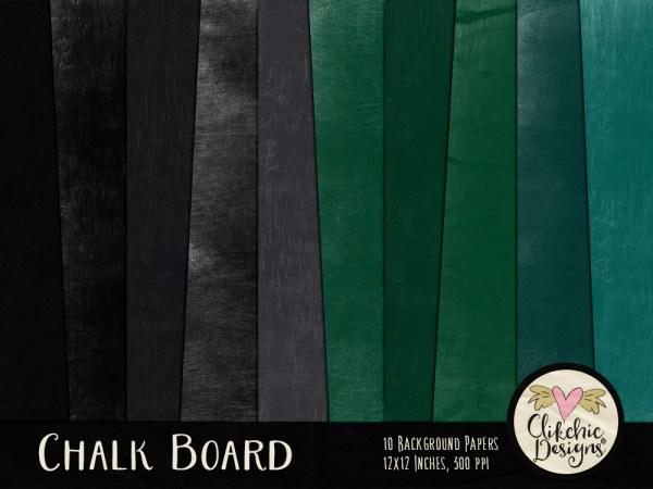 Chalk Board Textures Digital Scrapbook Paper Pack