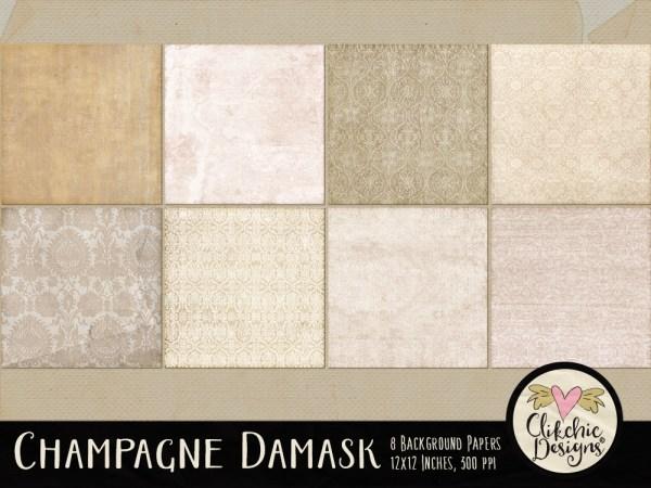 Champagne Damask Digital Scrapbook Paper Pack