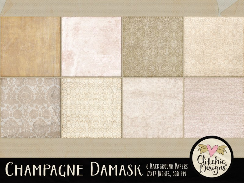 Champagne Damask Digital Scrapbook Paper Pack