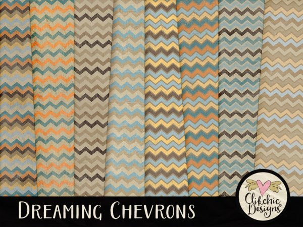 Dreaming Chevron Digital Scrapbook Paper Pack