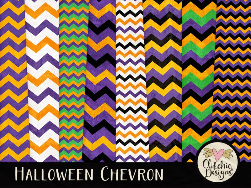 Halloween Chevron Digital Scrapbook Paper Pack