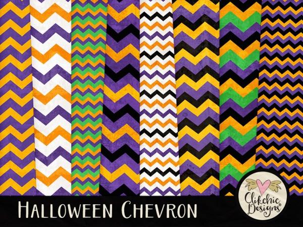 Halloween Chevron Digital Scrapbook Paper Pack