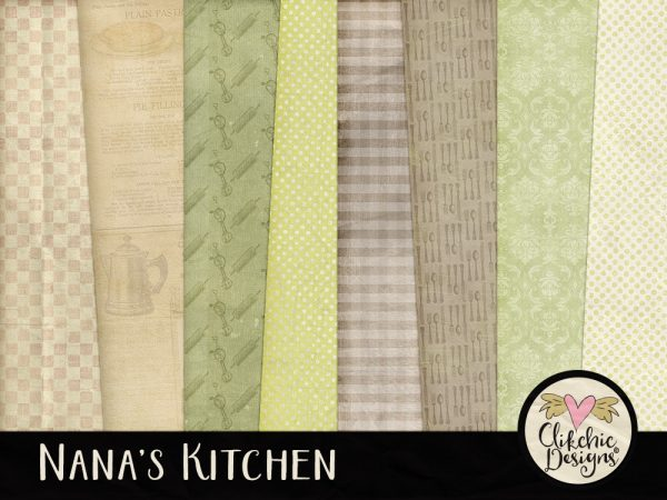 Nanas Kitchen Digital Scrapbook Paper Pack