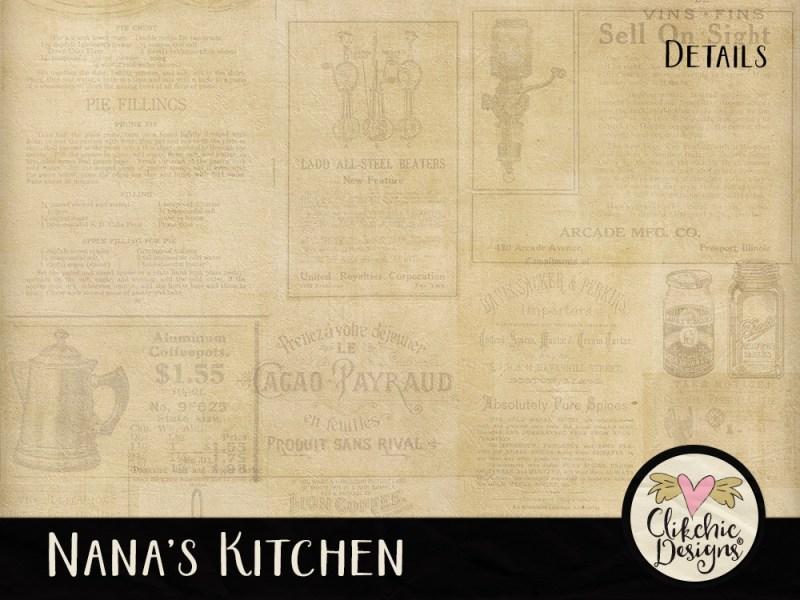 Nanas Kitchen Digital Scrapbook Paper Pack
