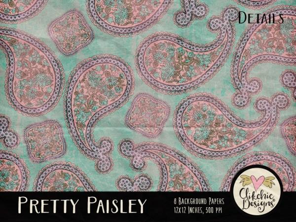 Pretty Paisley Digital Scrapbook Paper Pack