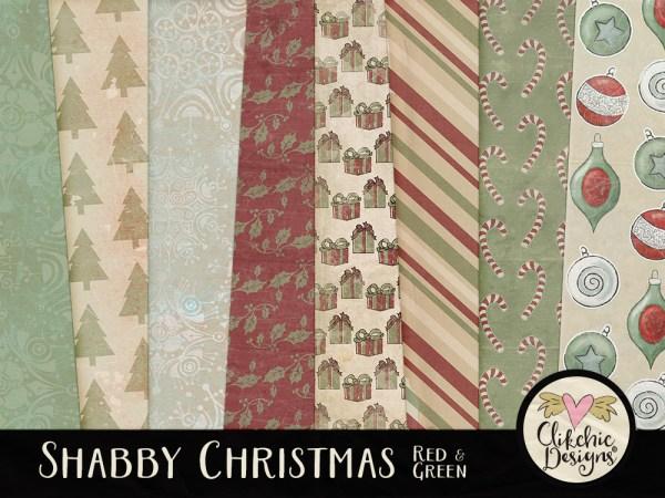 Red & Green Shabby Christmas Digital Scrapbook Paper Pack