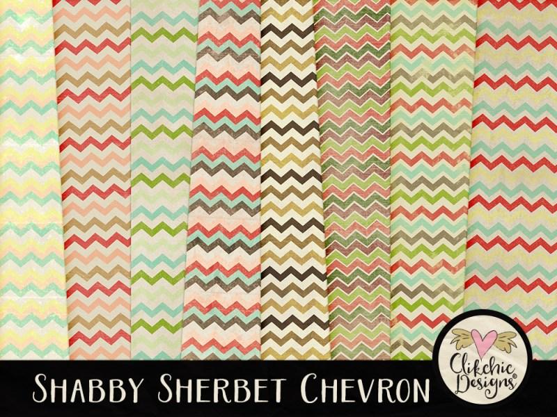 Shabby Sherbet Chevron Digital Scrapbook Paper Pack
