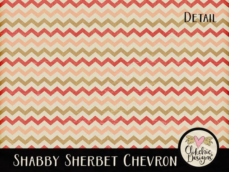 Shabby Sherbet Chevron Digital Scrapbook Paper Pack
