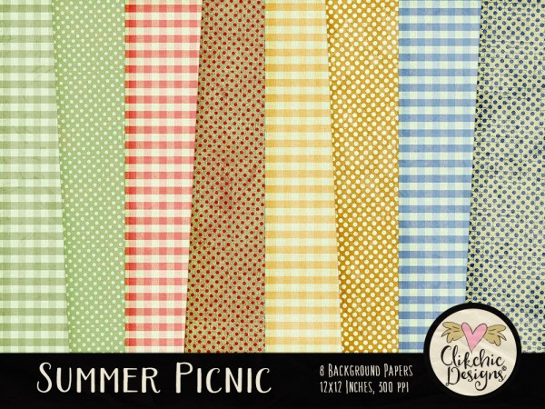 Summer Picnic Digital Scrapbook Paper pack