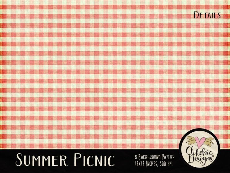 Summer Picnic Digital Scrapbook Paper pack