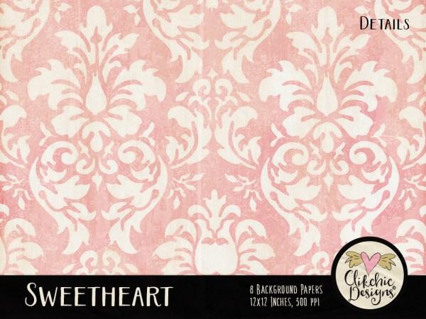 Sweetheart Digital Scrapbook Paper pack