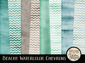Beachy Watercolor Chevrons Digital Paper Pack