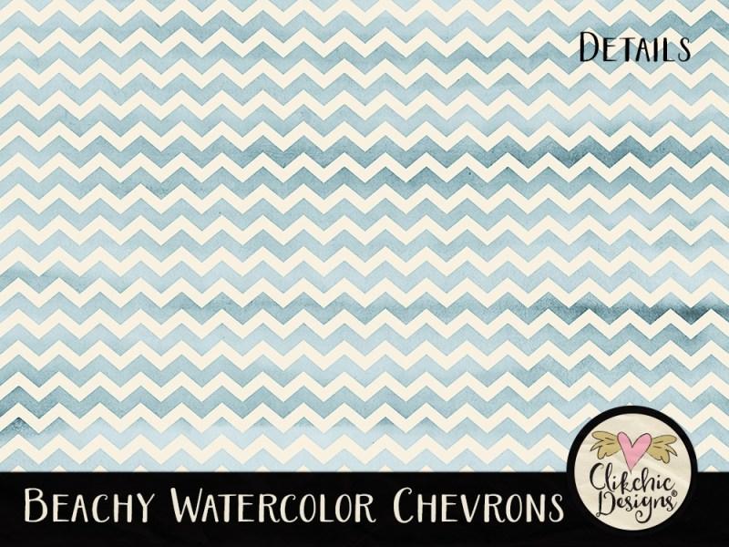 Beachy Watercolor Chevrons Digital Paper Pack