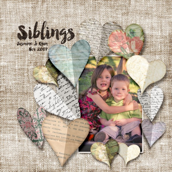 Siblings Digital Scrapbook Layout with Burlap Backgrounds & Folded Paper Hearts