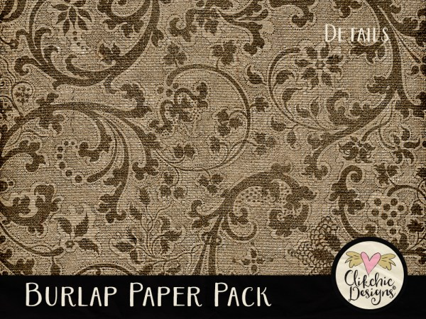 Burlap Digital Scrapbook Paper Pack