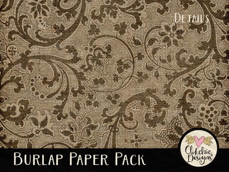 Burlap Digital Scrapbook Paper Pack
