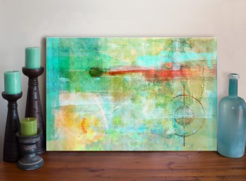 Abstract Circle Mixed Media Art Canvas