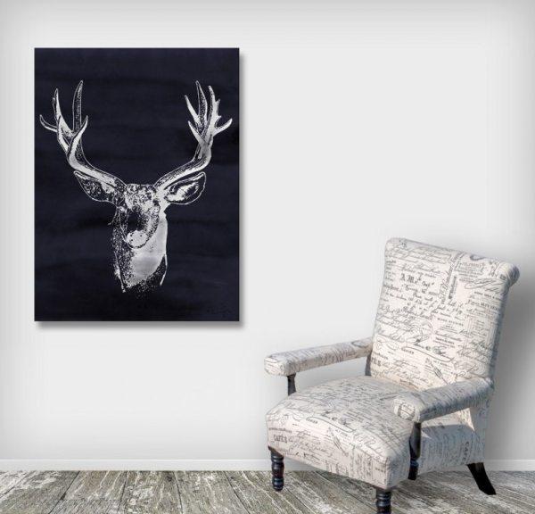 Charcoal Watercolor Deer Art Print