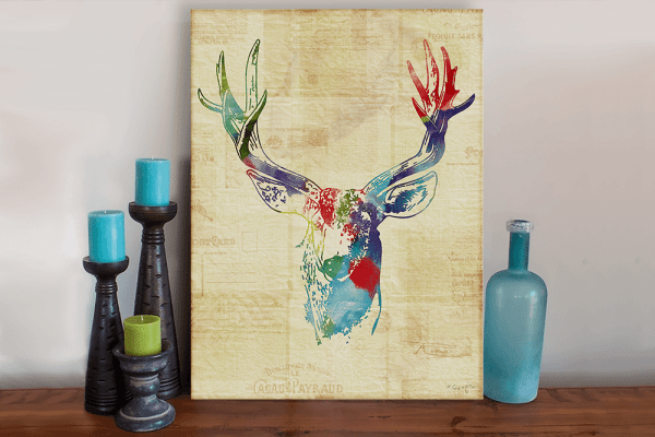 Deer Buck Mixed Media Art Canvas