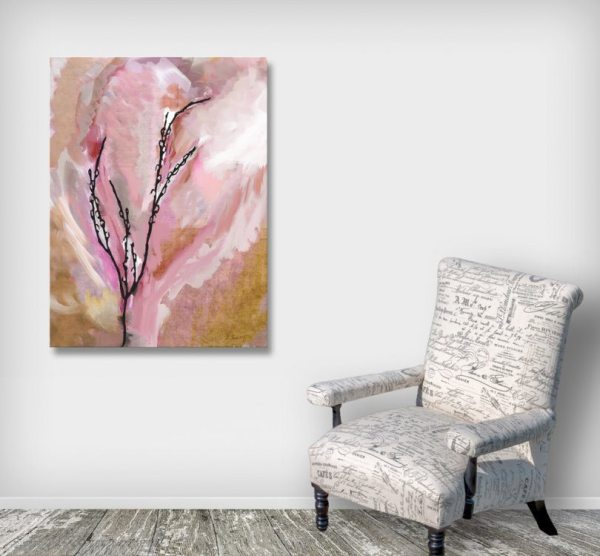 Pussy Willow Pink Orange Canvas Art print