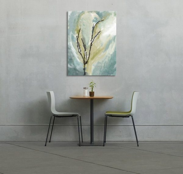 Pussy Willow Green Blue Canvas Art print