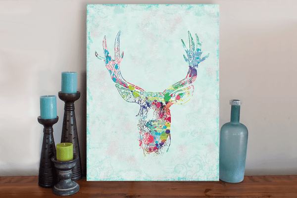 Splattered Deer Art Canvas