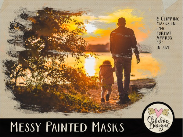 Messy Painted Photo Photoshop Clipping Masks