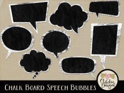Chalk Board Speech Bubbles Digital Scrapbook Elements