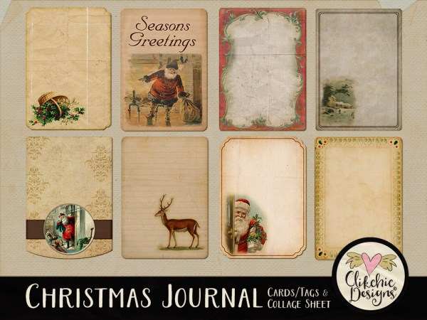 Digital Scrapbook Christmas Journal Cards & Printable Tags Collage Sheet