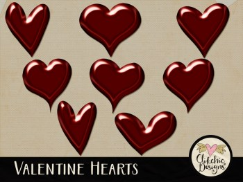 Valentine Hearts Digital Scrapbook Elements