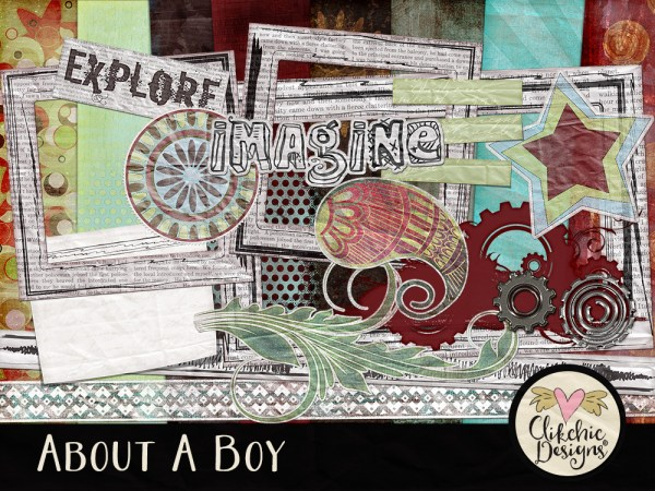About A Boy Digital Scrapbook Kit