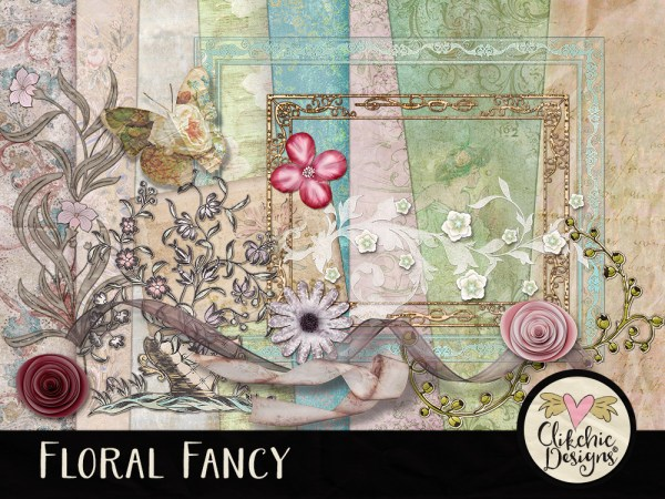 Floral Fancy Digital Scrapbook Kit