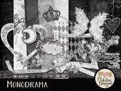 Monodrama Monochrome Digital Scrapbook Kit