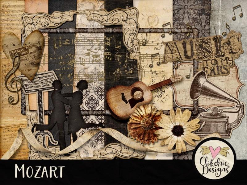 Mozart Music Digital Scrapbook Kit