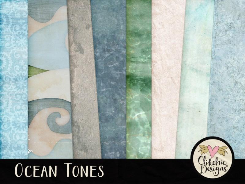 Ocean Tones Digital Scrapbook Kit