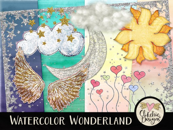 Watercolor Wonderland Digital Scrapbook Kit