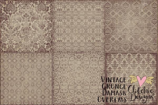 Vintage Grunge Damask Overlays