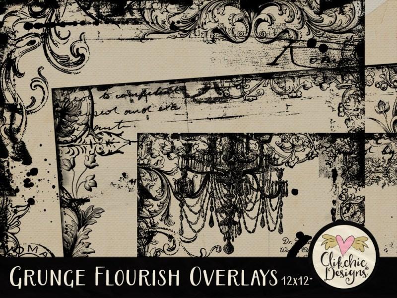 Grunge Flourish Overlays
