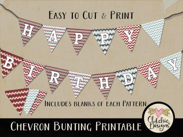 Chevron Printable Birthday Bunting